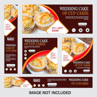 Desconto cup cake web banner set para restaurante