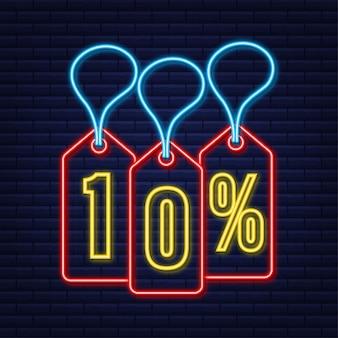 Desconto de 10 por cento na venda desconto neon tag desconto na oferta preço tag promoção com 10 por cento de desconto