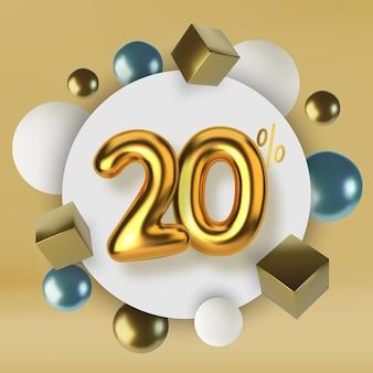 Desconto de 20 na promoção de venda feita de esferas e cubos realistas de texto em ouro 3d