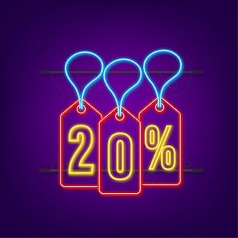 Desconto de 20% na venda desconto neon tag desconto na oferta preço 20% de desconto