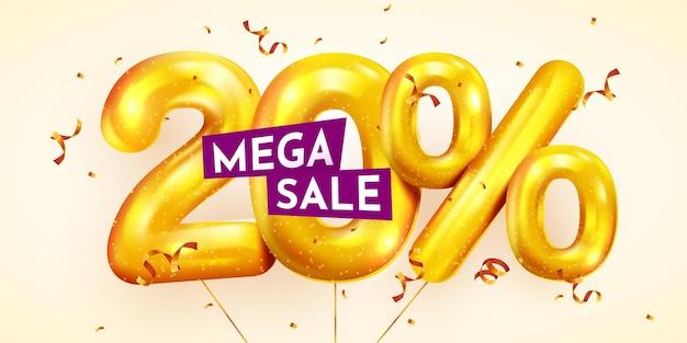 Desconto de 20 por cento na composição criativa de balões dourados mega sale ou vinte por cento