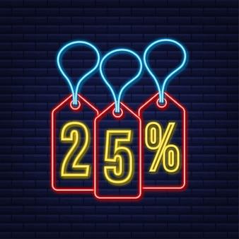 Desconto de 25% na venda desconto neon tag desconto na promoção preço 25% na promoção