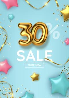 Desconto de 30 descontos na promoção feita de balões de ouro realistas com estrelas