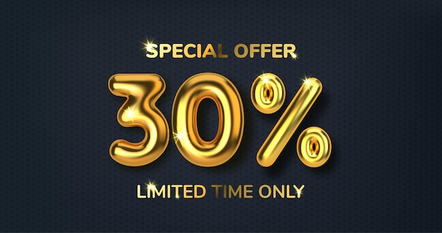 Desconto de 30 descontos na venda da promoção feita de balões de ouro 3d realistas número na forma de balões de ouro