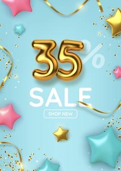 Desconto de 35 descontos na promoção feita de balões de ouro realistas com estrelas