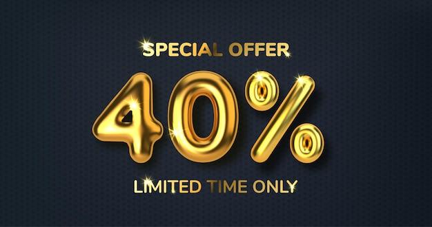 Desconto de 40 descontos na venda da promoção feita de balões de ouro 3d realistas número na forma de balões de ouro