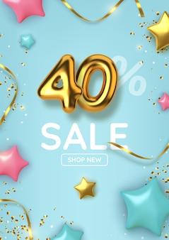 Desconto de 40 descontos na venda da promoção feita de balões de ouro realistas com estrelas
