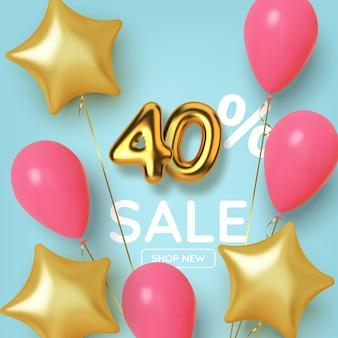 Desconto de 40 descontos na venda da promoção feita de números de ouro 3d realistas com balões e estrelas. número em forma de balões dourados.