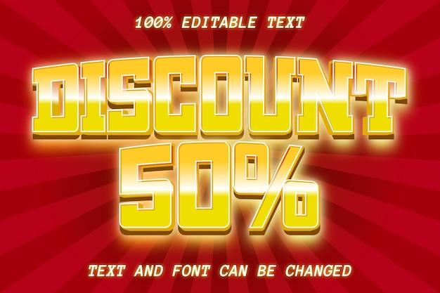 Desconto de 50% em estilo cômico com efeito de texto editável