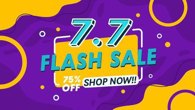 Desconto de 50 na venda de flash e oferta de compra de banner de modelo bacground cor roxa