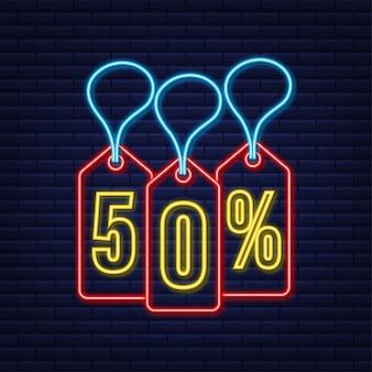 Desconto de 50% na venda desconto neon tag desconto na promoção preço 50% na promoção