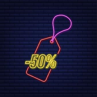 Desconto de 50 por cento na venda com desconto neon tag desconto no preço da oferta