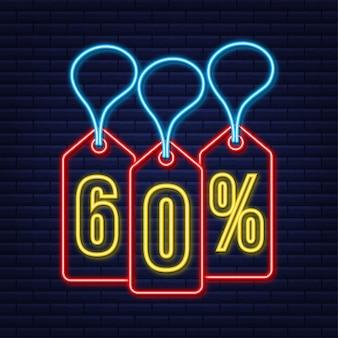 Desconto de 60% na venda desconto neon tag desconto na promoção preço 60% na promoção