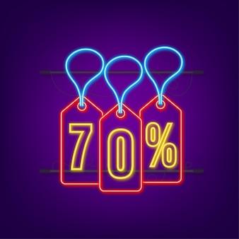Desconto de 70% na venda desconto neon tag desconto na promoção preço 70% na promoção