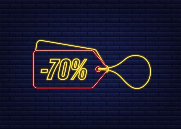 Desconto de 70% na venda etiqueta neon etiqueta de desconto na oferta