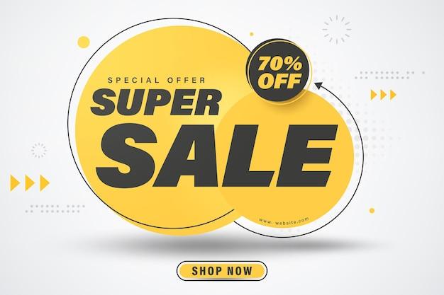 Desconto de 70% no design do modelo de banner super venda.