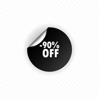 Desconto de até 90% no banner. autocolante do círculo. rótulo dobrado desconto de até 90%. maquete de adesivo redondo. forma de crachá de 90 por cento de venda. 90 por cento fora da etiqueta.