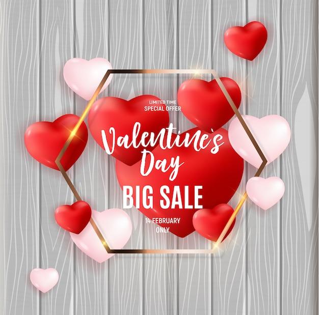 Desconto de banner de grande venda de dia dos namorados