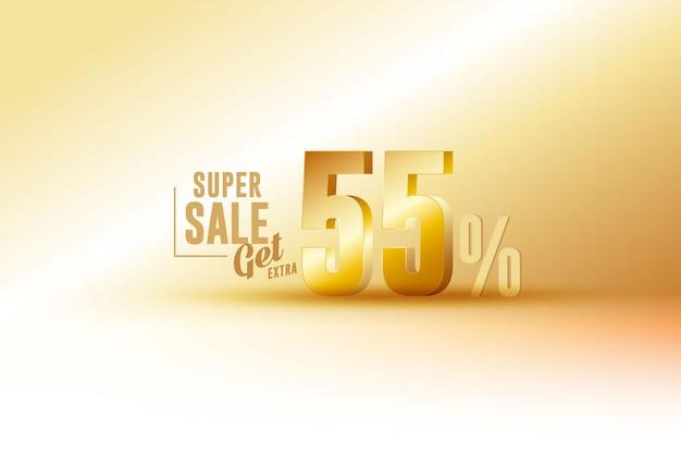 Desconto de banner de melhor venda 3d com cinquenta e cinco 55 por cento