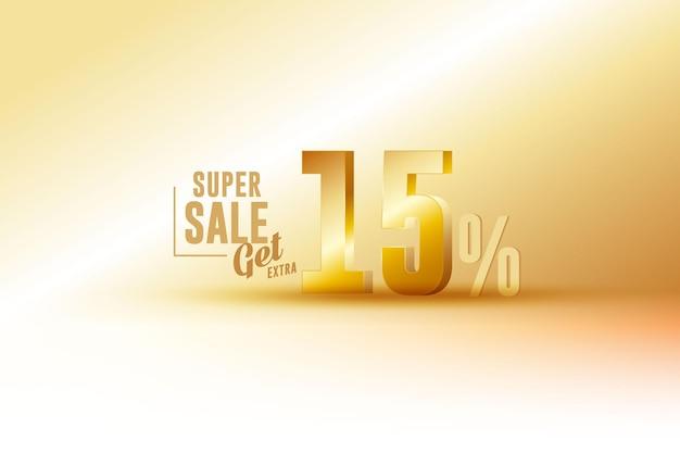 Desconto de banner de melhor venda 3d com quinze 15 por cento