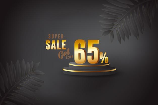 Desconto de banner de melhor venda 3d com sessenta e cinco 65 por cento