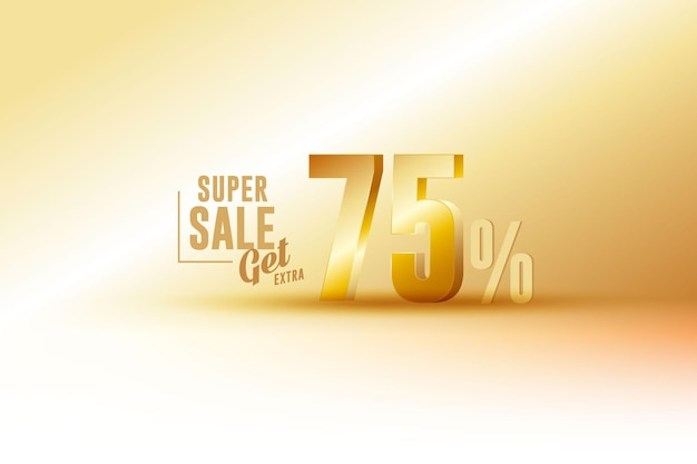 Desconto de banner de melhor venda 3d com setenta e cinco 75 por cento