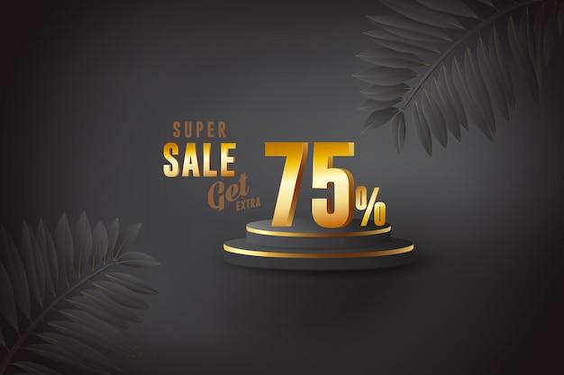Desconto de banner de melhor venda 3d com setenta e cinco 75%