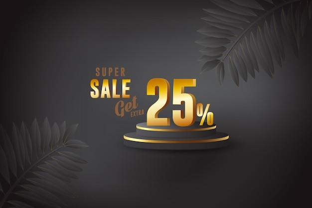 Desconto de banner de melhor venda 3d com vinte e cinco 25 por cento