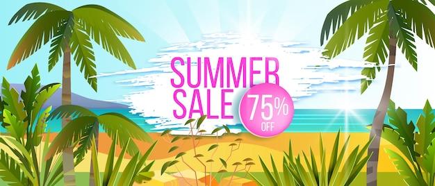 Desconto de banner de promoção de verão na praia da ilha tropical de palmeiras