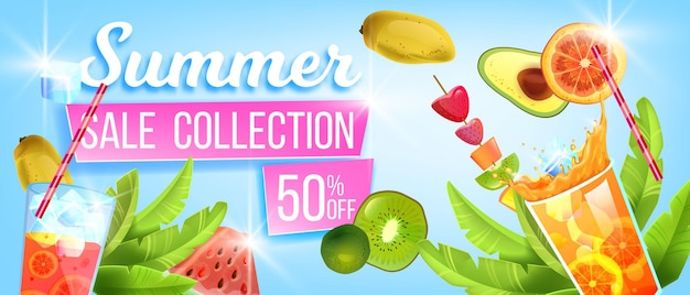 Desconto de banner de promoção de verão oferece bebidas geladas de melancia com frutas tropicais
