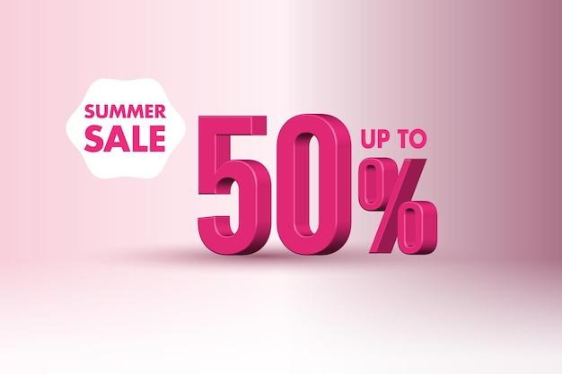 Desconto de banner de venda de verão 3d com 50% de desconto