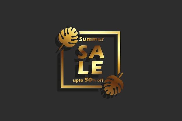 Desconto de banner de venda de verão 3d com 50% Vetor Premium