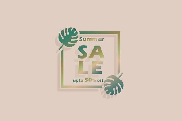 Desconto de banner de venda de verão 3d com 50%