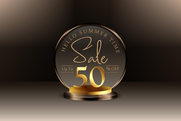 Desconto de banner de venda de verão 3d premium com 50% de desconto