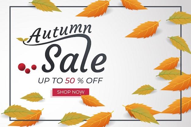 Desconto de banner de venda outono