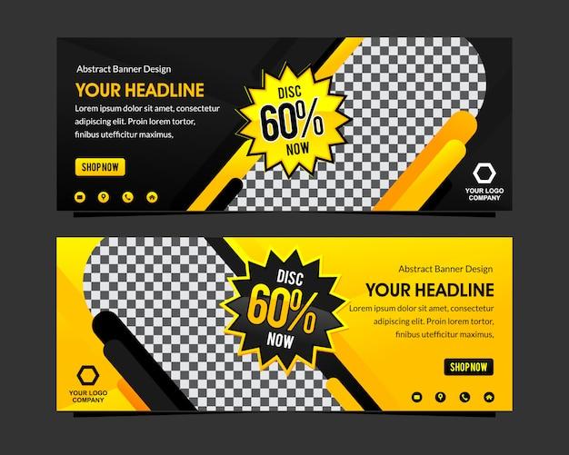 Desconto de banner moderno web preto e amarelo super venda