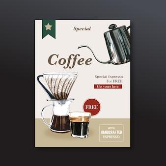 Desconto de cartaz de café americano, modelo moderno, ilustração de aquarela