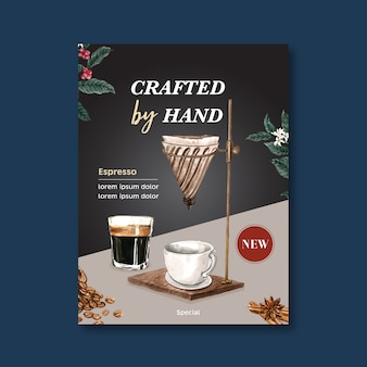Desconto de cartaz de cappuccino café americano, modelo moderno, ilustração de aquarela