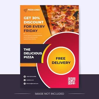 Desconto de comida em cor gradiente com modelo de design de folheto vertical de entrega gratuita