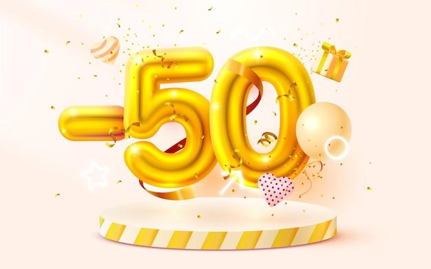 Desconto de composição criativa d símbolo de venda dourada com objetos decorativos balões em forma de coração confete dourado pódio e banner de venda de caixa de presente e vetor de cartaz