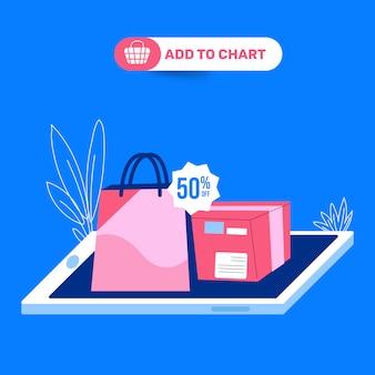 Desconto de compras on-line adicionar ao gráfico