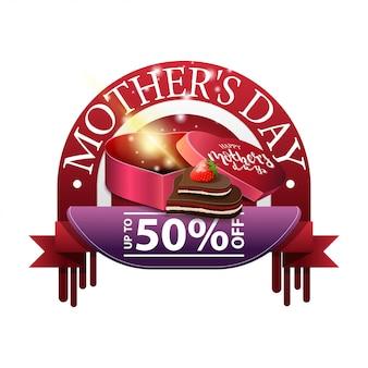 Desconto de dia das mães redondo banner moderno