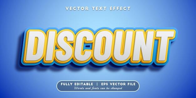 Desconto de efeito de texto, estilo de texto 3d