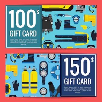 Desconto de equipamentos de mergulho subaquática ou modelos de cartão de presente