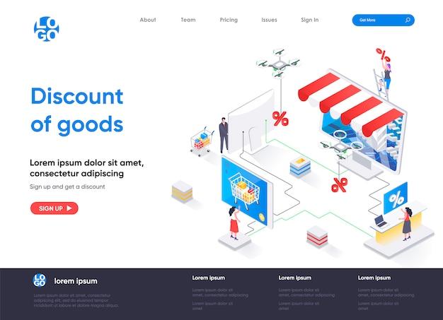 Desconto de modelo de página de destino isométrica de mercadorias