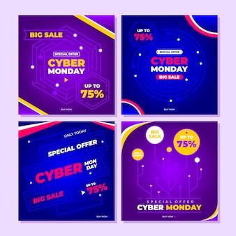 Desconto de oferta especial da cyber monday para postagem ou história no instagram