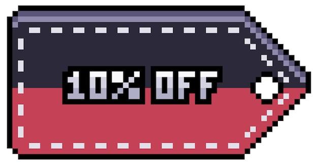 Desconto de pixel art e tag de venda 10 desconto no item do jogo 8bit preto de sexta-feira em fundo branco