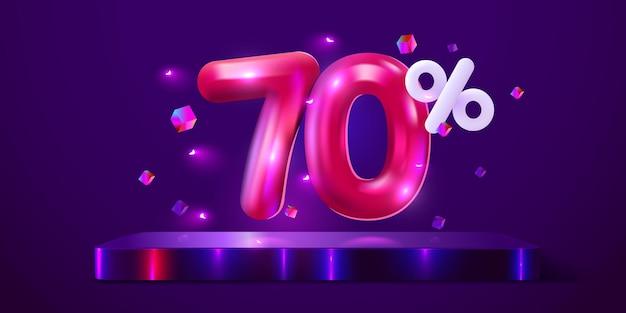 Desconto de porcentagem de desconto em banner neon de mega venda de composição criativa