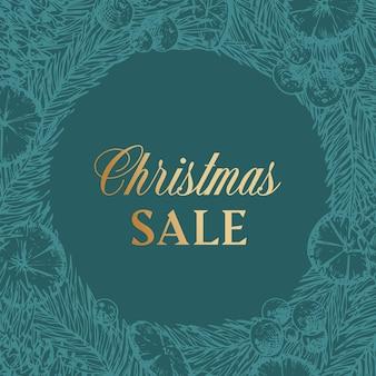 Desconto de venda de natal desenhado à mão esboço pinho ou abeto coroa de flores ou modelo de cartão