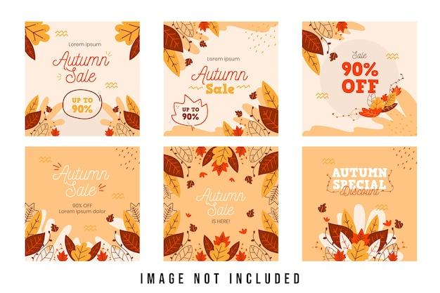 Desconto de venda de outono modelo de postagem de mídia social